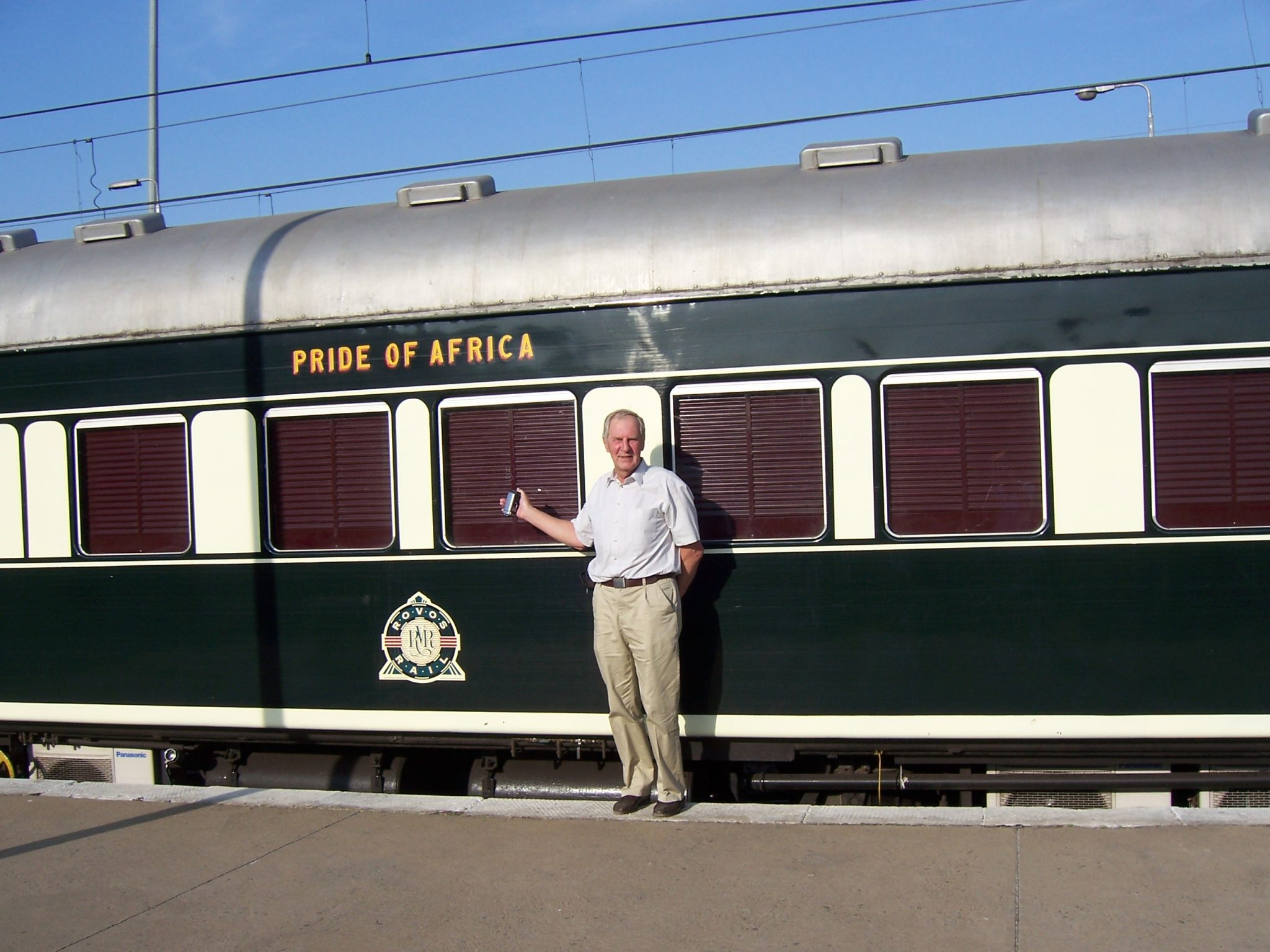 "Herbert in front of the ""Pride of Africa"" train"