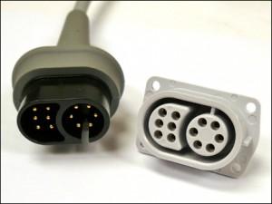 Example of custom ECG plug and custom case-mounted receptacle