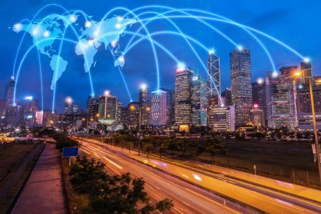 Wireless network information technology linking a world data sending to financial cooperate. Smart city internet of things global communication and cloud tech. wifi internet access.